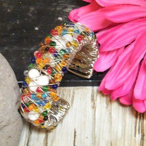 Fab Colorful Silver Wire Wrap Beaded CUFF Bracelet
